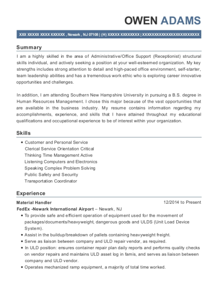 Material Handler resume sample New Jersey