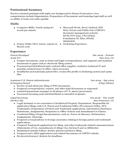Patent Paralegal resume format New Jersey