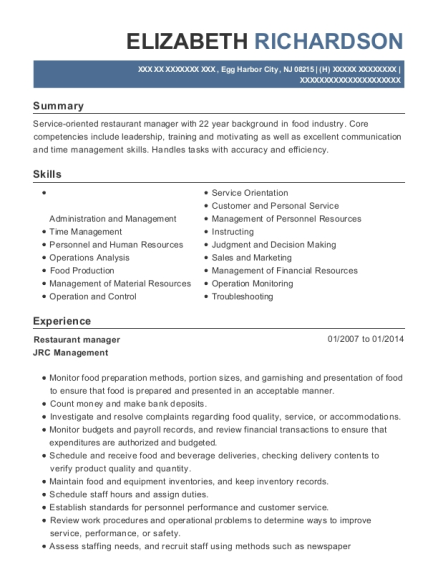Restaurant Manager resume template New Jersey