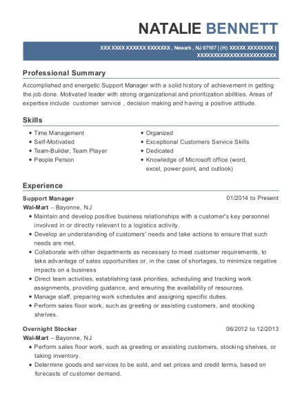 Support Manager resume template New Jersey
