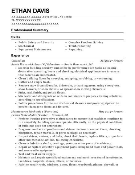 Custodian resume format New Jersey