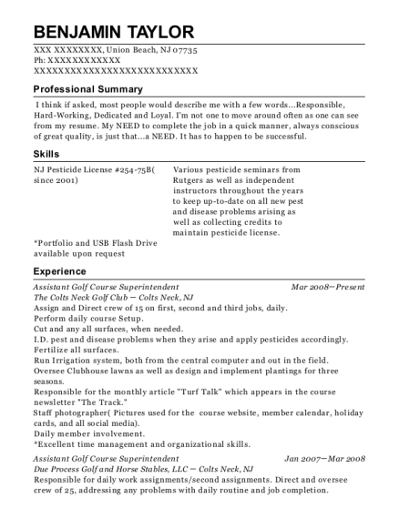 Assistant Golf Course Superintendent resume sample New Jersey