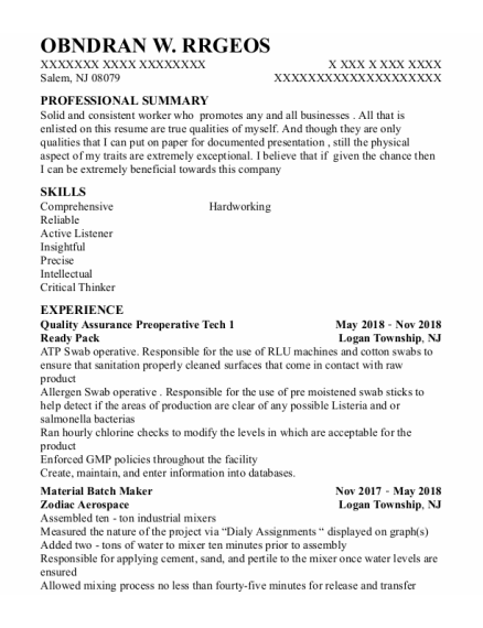 Quality Assurance Technician resume example New Jersey