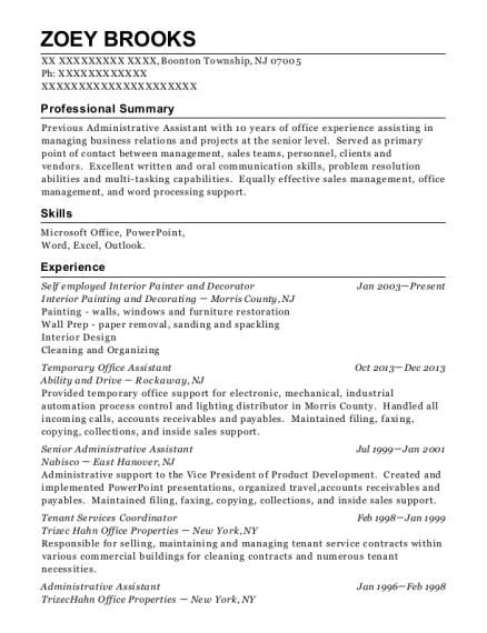 Self employed Interior Painter and Decorator resume template New Jersey