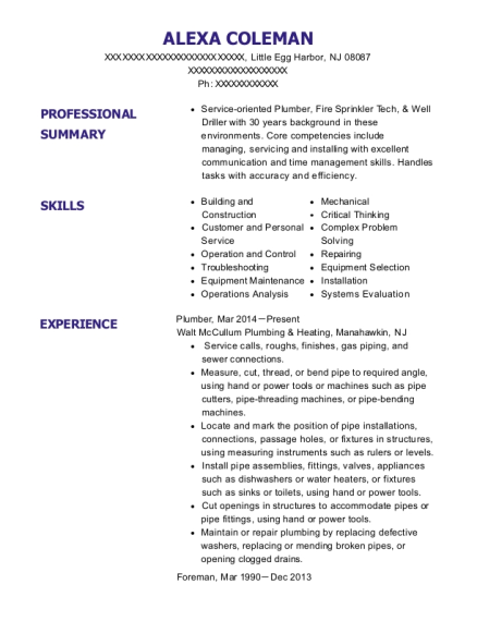 Plumber resume example New Jersey