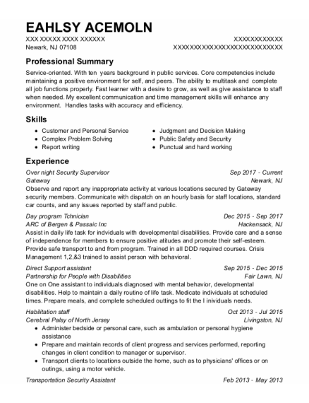 Direct Support Assistant resume format New Jersey