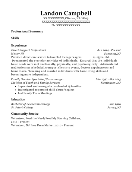 Direct Support Professional resume format New Jersey