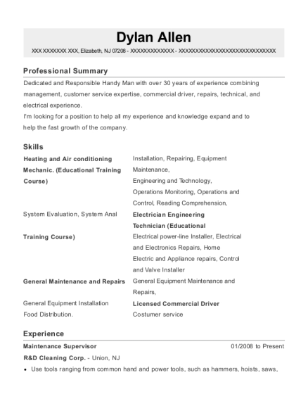 Maintenance Supervisor resume format New Jersey