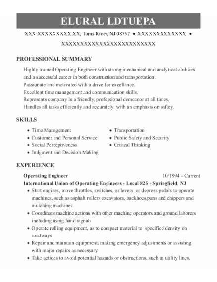 Operating Engineer resume format New Jersey