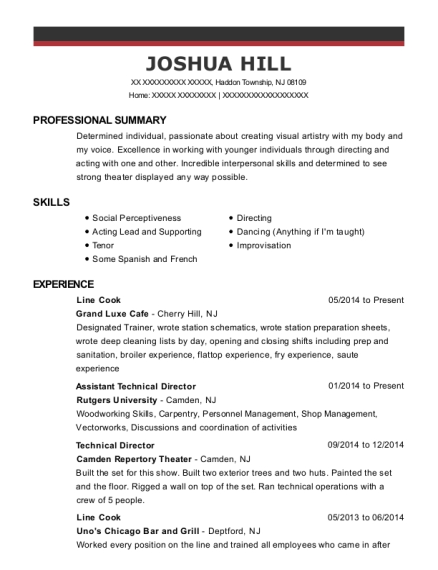 Line Cook resume format New Jersey