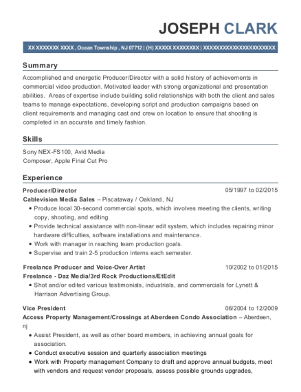 Producer resume example New Jersey