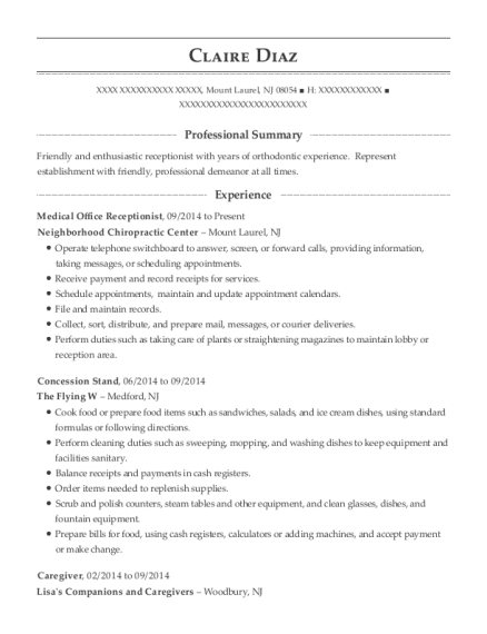 Harbor Community Health Center Medical Office Receptionist Resume