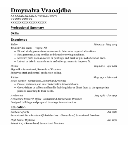 Tailor resume format New Jersey