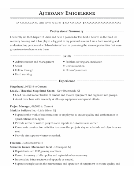 Stage Hand resume template New Jersey