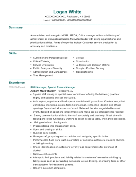 Shift Manager resume example New Jersey