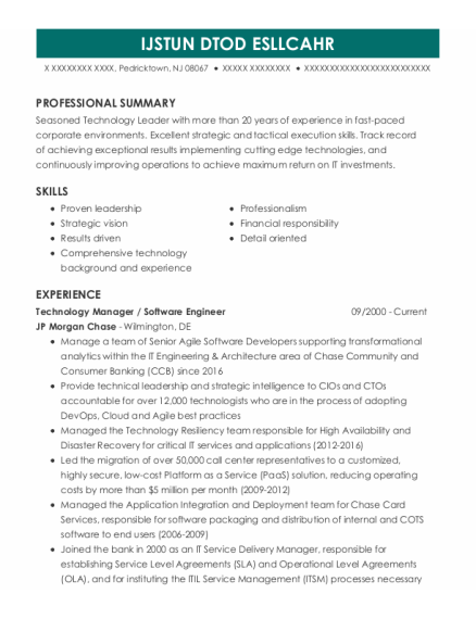 Information Technology Manager resume template New Jersey