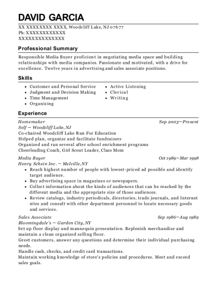Self Homemaker Resume Sample