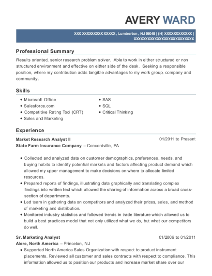 Market Research Analyst II resume format New Jersey