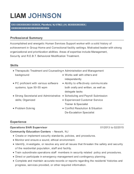 Operations Shift Supervisor resume format New Jersey