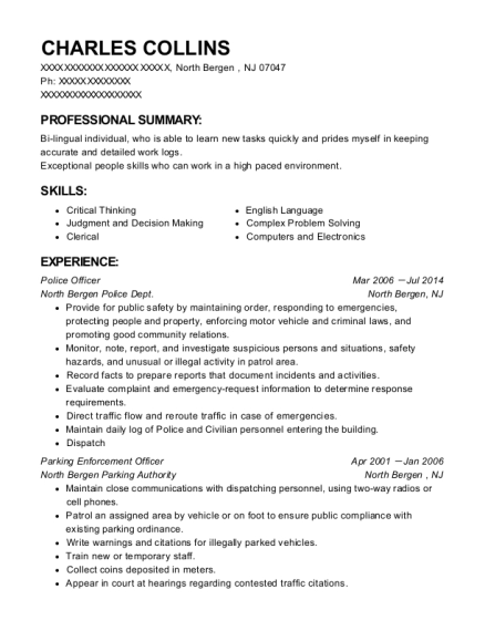 Police Officer resume format New Jersey