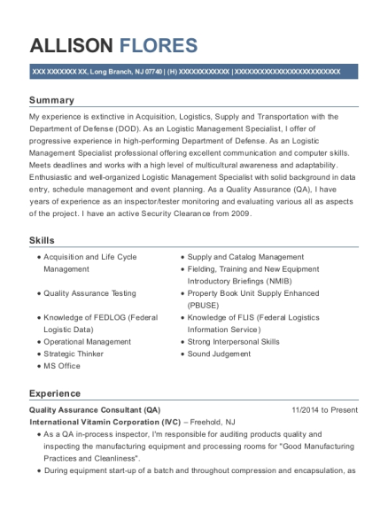 Quality Assurance Consultant resume example New Jersey