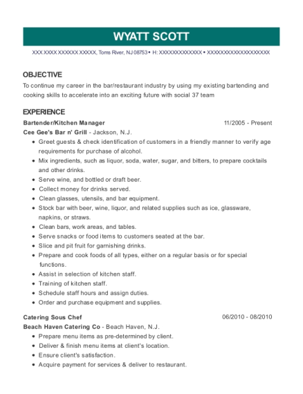 Bartender resume example New Jersey
