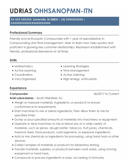 Compounder resume template New Jersey