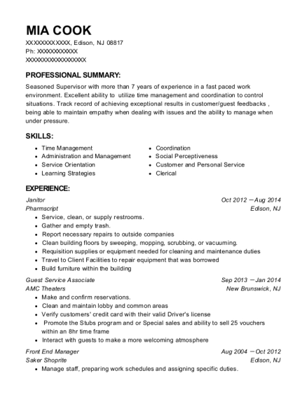 Janitor resume sample New Jersey