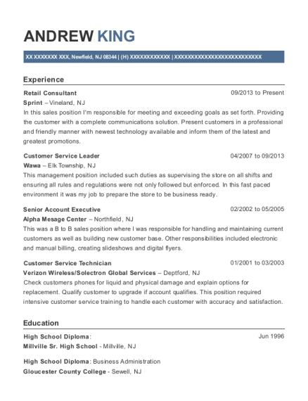 Retail Consultant resume sample New Jersey