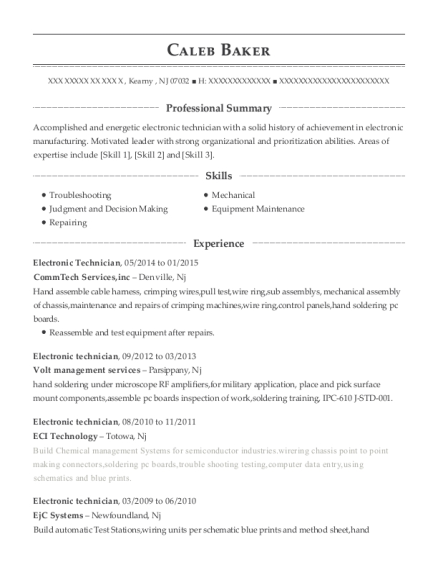 Electronic Technician resume template New Jersey