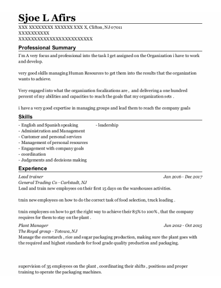 Lead Trainer resume example New Jersey