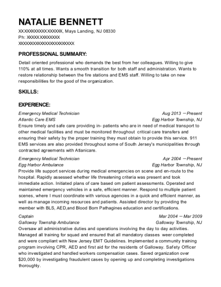 Emergency Medical Technician resume example New Jersey