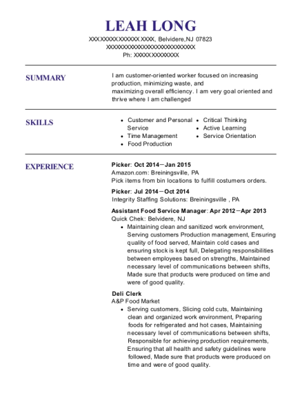Picker resume example New Jersey