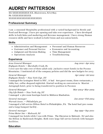 Area General Manager resume sample New Jersey