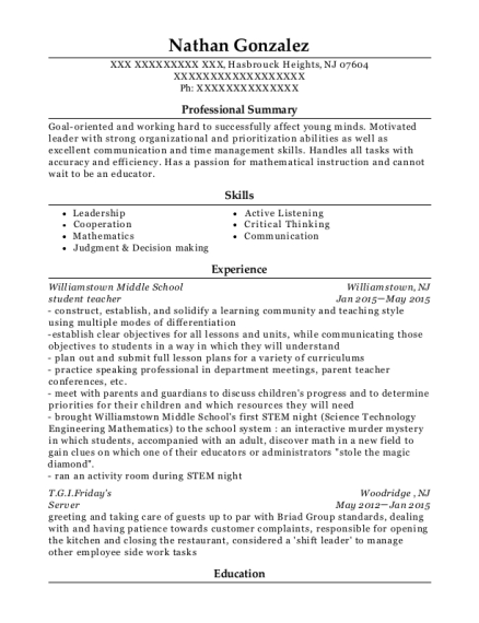 student teacher resume example New Jersey