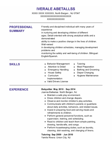 Babysitter resume template New Jersey