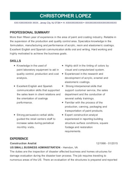 Construction Analist resume format New Jersey