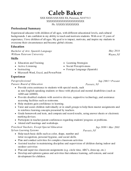 Paraprofessional resume sample New Jersey