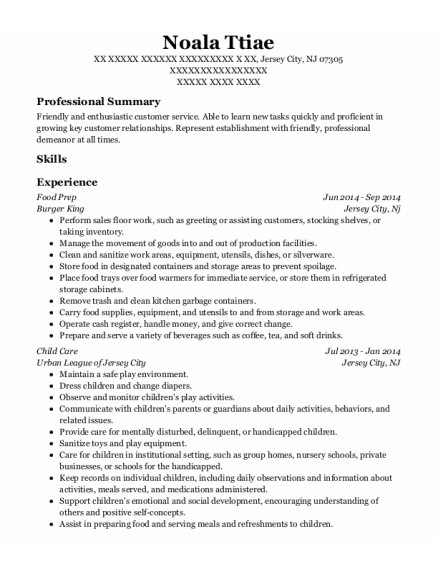 Food Prep resume sample New Jersey