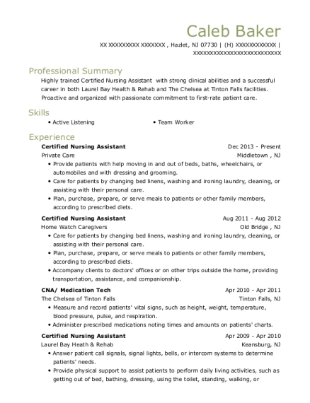 Certified Nursing Assistant resume format New Jersey