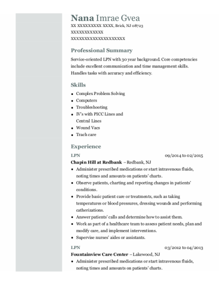 LPN resume example New Jersey