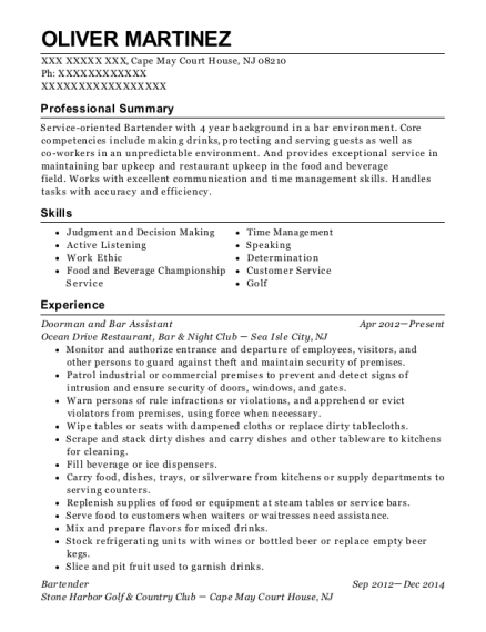 Doorman and Bar Assistant resume template New Jersey