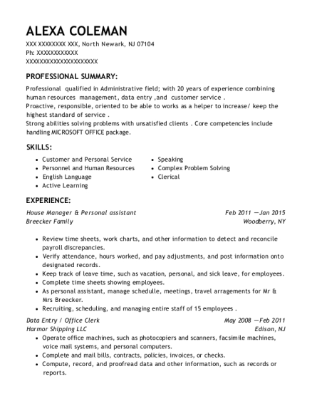 House Manager & Personal assistant resume format New Jersey
