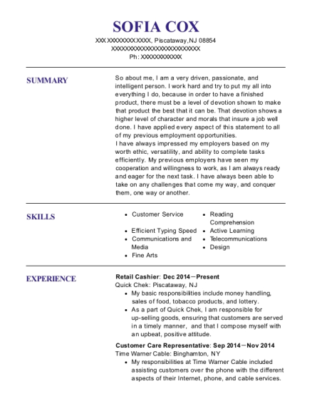 Retail Cashier resume template New Jersey