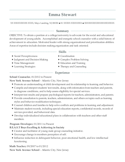School Counselor resume example New Jersey