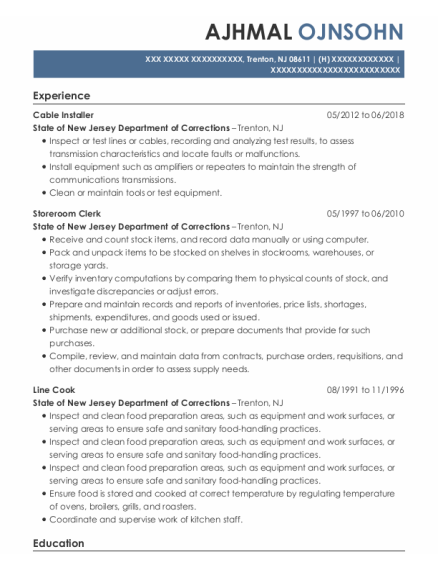 Cable Installer resume format New Jersey
