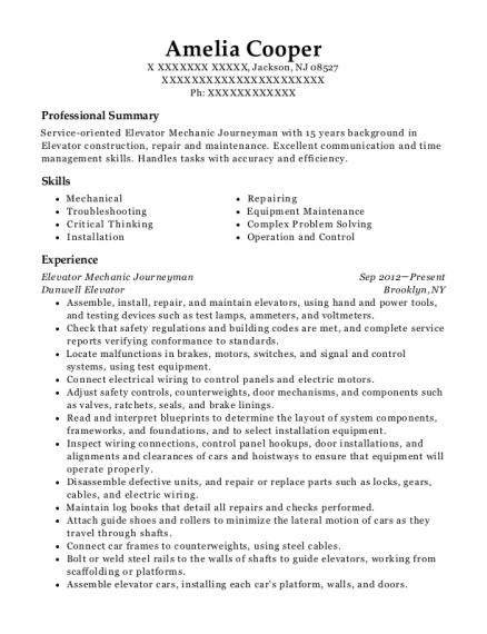Elevator Mechanic Journeyman resume template New Jersey