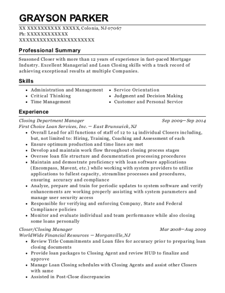 Closing Department Manager resume template New Jersey