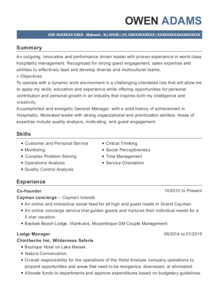Co founder resume sample New Jersey