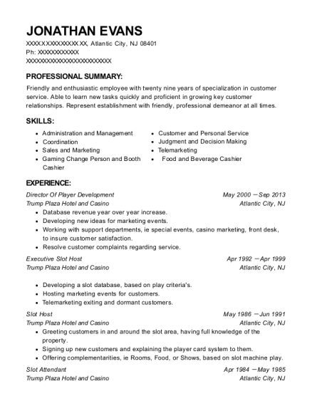Director Of Player Development resume example New Jersey